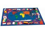 "Joy Carpets Kid Essentials Geography & Environment Flags of The World Rug, Multicolored, 7'8"" x 10'9"" - 1"
