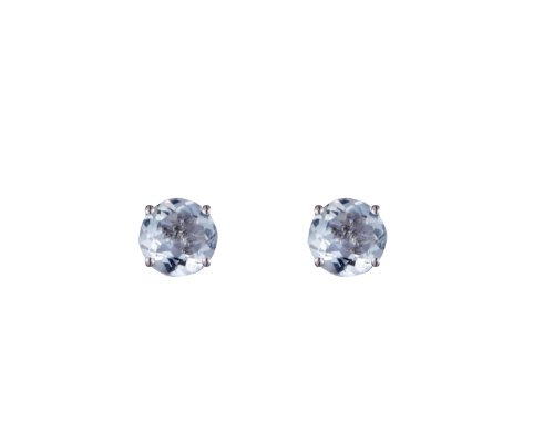 9ct White Gold Real Aquamarine 4mm Round Claw Set Stud Earring