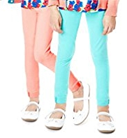 2 Pack Cotton Rich Button Cuff Leggings with StayNEW™