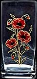 Glass Vase in a Poppy Design. Handpainted and designed in the UK by Beverley Gallagher, these significant and expressive gifts are ideal for Mother's Day, Christmas, Valentine's Day, Easter, birthdays, anniversaries, weddings, hand fastings, civil partne
