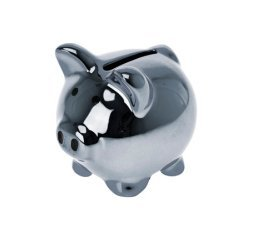 "Wanted Brand Novelty 2"" Disco Pig Ceramic Metallic Piggy Money Bank, Silver - 1"