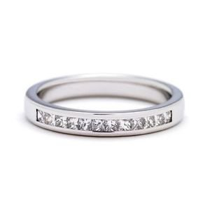 finediamondsrus New Ring,F/Vs Princess Cut Diamond Half Eternity Wedding Band,Platinum,W: 2.6Mm