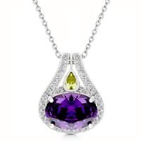 Purple Brilliance Amethyst Pendant - White Gold Rhodium Bonded