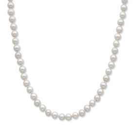 Sterling Silver 5-6mm Grey Freshwater Cultured Pearl Necklace (18 Inches)
