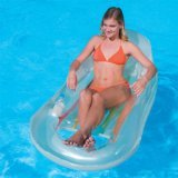CLEAR Deluxe Pool Lounger with Drinks Holder, Inflatable Pool Chair Lilo by Bestway