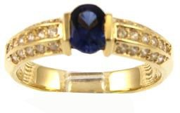 14k Yellow Gold, Simple Classic Design Ring with Lab Created Oval Shape Dark Blue Colored Stone