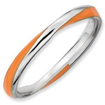 Sunburst Silver Twisted Orange Enamel Stackable Ring. Sizes 5-10 Available