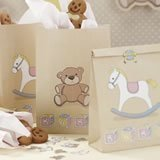 Ginger Ray Rock-a-Bye Baby Rocking Horse & Teddy Party Goodie/Loot Bags (5 Pack), Mixed