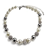 M&S Collection Pearl Effect & Bauble Bead Twist Necklace