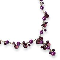 Sterling Silver Purple Cultured Pearl And Rose/Lavender Quartz Necklace - 16 Inch