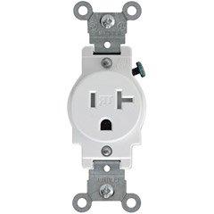 Leviton T5020-W 20-Amp 125-Volt Nema 5-20R, 2-Pole, 3W, Narrow Body Single Receptacle, White