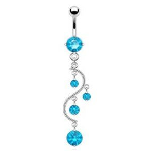 Amazon.com: Aqua Lt Blue 4 Gem Unique Vine Dangle Belly