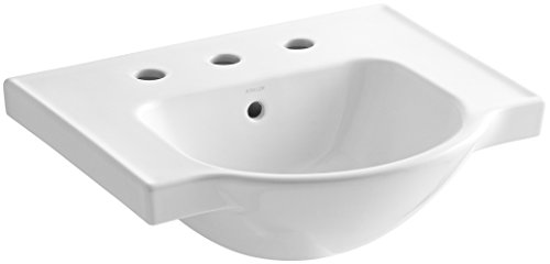 Best Review Of KOHLER K-5247-8-0 Veer Widespread Sink Basin, 21-Inch, White