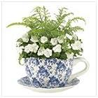 Blue Floral Teacup Planter