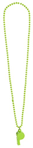 Amscan Party Ready Team Spirit Neon Whistle Bead Necklace, Green, 10.2 x 2.3