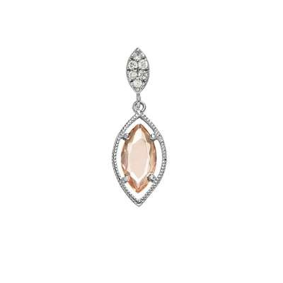 Charm Necklace Pendant Jewelry 925 Sterling Silver Small CZ Marquise w/ Hanging Champagne Marquise CZ Design (WoW !With Purchase Over $50 Receive A Marcrame Bracelet Free)