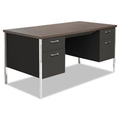 * Double Pedestal Steel Desk, Metal Desk, 60w x 30d x 29-1/2h, Walnut/Black