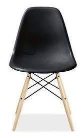 Eiffel Eames Style LAC Plastic Side Chair Wood Dowel Legs Black Top Quality