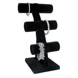 Bracelet 3 Tier T-Bar Jewelry Display Black Velvet