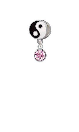 Cz Round - 6Mm Pink - Yin Yang Charm Bead