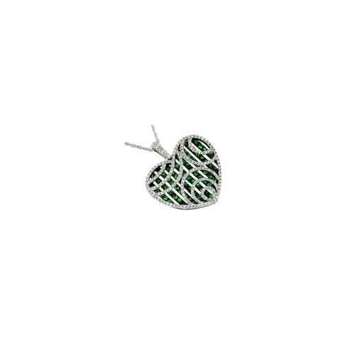 14K White Gold Diamond and Green Garnet Heart Shaped Necklace
