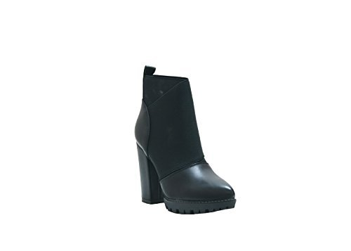 JustGlam - Scarpe donna stivaletti fascia elastica plateau tacco largo comodissimo tendenza new collection mist have / nero 37