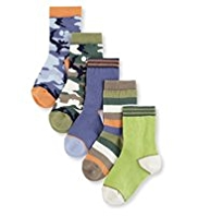 5 Pairs of Cotton Rich Camouflage Socks