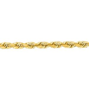 10K Solid Yellow Gold Diamond Cut Rope Chain Necklace 3mm thick 30 Inches