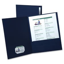 Linen Twin Pocket Portfolios, Letter, 5/PK, Navy, Sold as 1 Package, 5 Each per Package