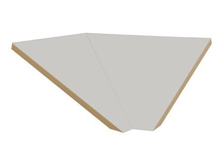 "Sloping Hood Corner Filler Size: 7.75"" H X 21"" W X 22"" D, Color: Gray front-542079"