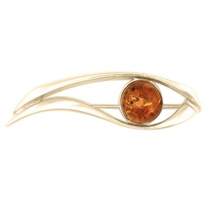 18ct gold generously plated amber brooch hidden gem
