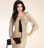 Scoop Neck Crochet Open Knit Cardigan