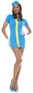 Mod Flight Attendant (blue) Adult Halloween Costume Size 12-14 Large by Franco