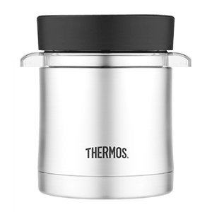 Thermos Vacuum Insulated Food Jar W/Microwavable Container - 12 Oz. - Stainless Steel front-629916