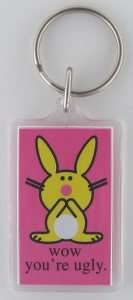 it's happy bunny 'Wow You're Ugly' Lucite Key Chain
