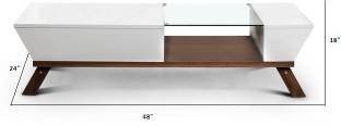 SMARVVV PRODUCTIONS Smart and Stylish in Rosewood Shelf with Cover Glass Top and Wood Combination Center Table in Standard size and Weight (WHITE)