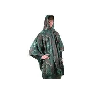 Adult Hooded Vinyl Rain Poncho (Camouflage)