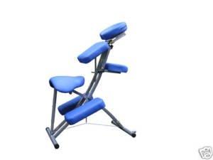 Blue Foldable Steel Portable Massage Chair w/Wheels