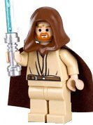 LEGO Star Wars LOOSE Mini Figure Obi-Wan with Silver Lightsaber (Headset)