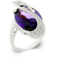 Amethyst World Wonder Ring - White Gold Rhodium Bonded - Size 7
