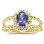 0.20 Cts Diamond & 1.20 Cts Tanzanite Ring in 14K Yellow Gold-7