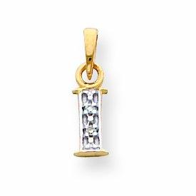 14k and Rhodium Polished .01ct Diamond Initial I Charm