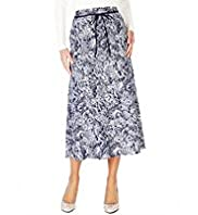 Linen Blend Bali Print Long Skirt