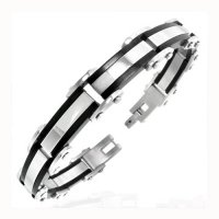 Bling Jewelry Two-Tone Stainless Steel Link Mens Bracelet