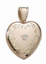 14K Yellow Gold Cremation and Hair Locket w/ Diamond Center - 3/4 inch x 3/4 inch in Solid 14K Yellow Gold