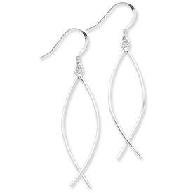 Sterling Silver Ichthus (fish) Light Dangling Earrings