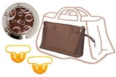 KIT PROMO GRANDE POCHETTE SAC A MAIN MARRON ACCROCHE SAC ANSE