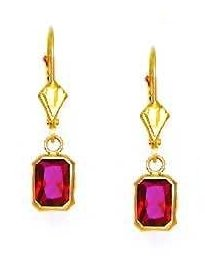 14ct Yellow Gold 7x5 mm Emerald-Cut Red CZ Drop Earrings