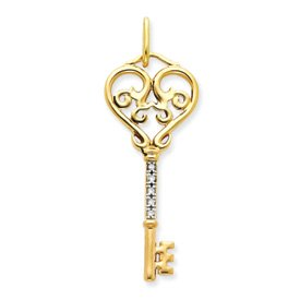 Genuine IceCarats Designer Jewelry Gift 14K Diamond Key Pendant In 14K Yellow Gold