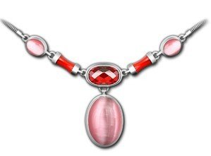 Retro Women's Royal Nobles Natural Opal Garnet Red Agate 925 Sterling Silver Thai Silver Pendant Necklace for Wedding Global Limited Edition